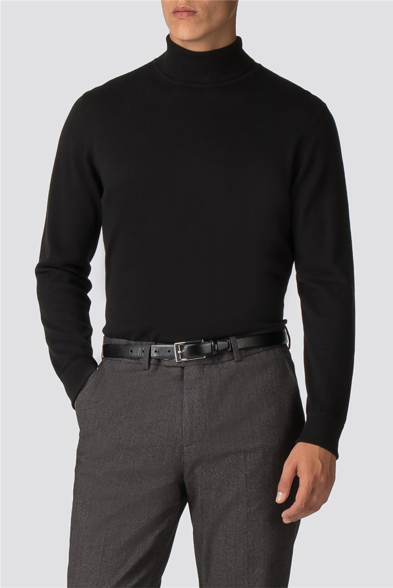 Black Fine Gauge Roll Neck