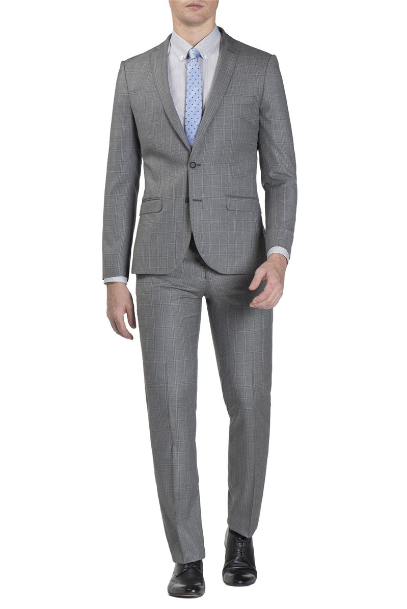 Smoked Grey Windowpane Check Camden Fit Suit