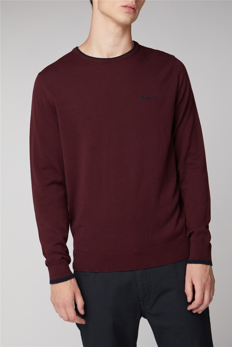 Burgundy Tipped Crew Jumper