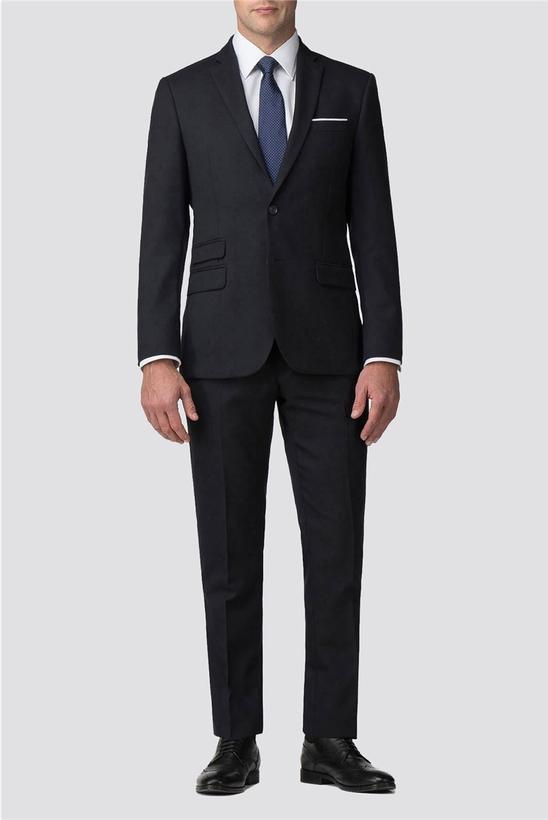 Navy Hopsack Wool Blend Tailored Fit Suit
