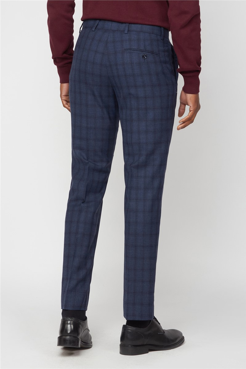 Slate Blue Jaspe Check Tailored Fit Trouser