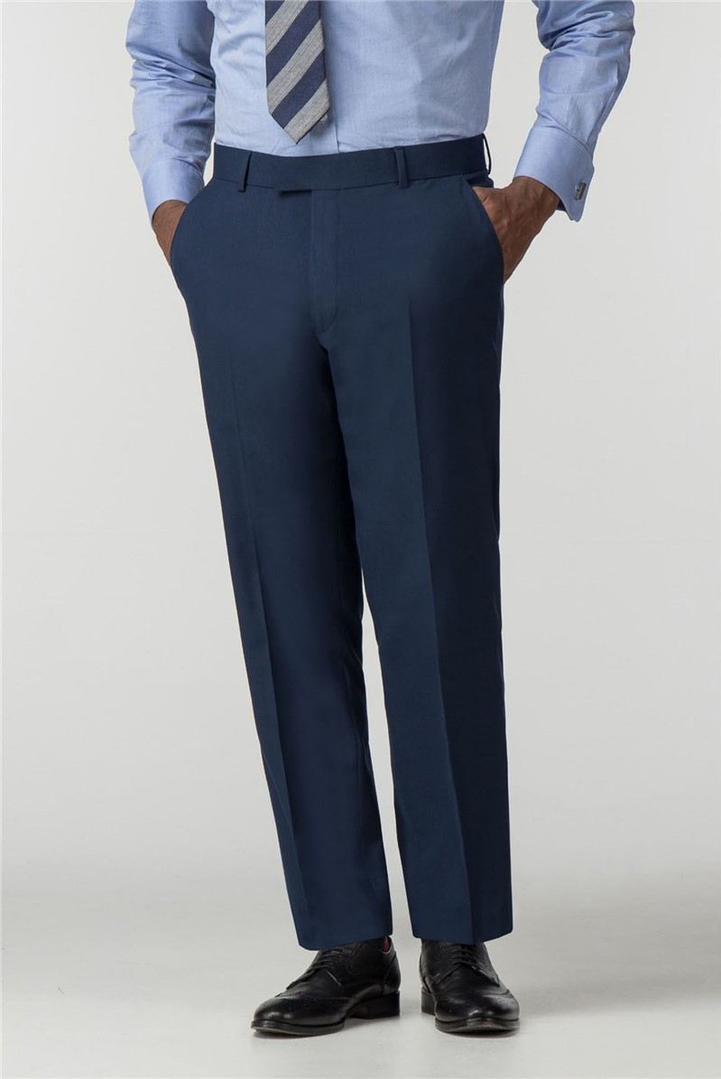 Plain Blue Panama Regular Fit Trousers