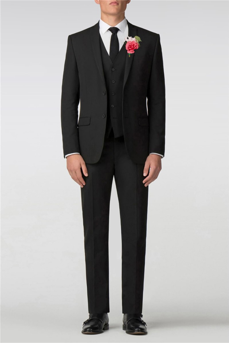 Plain Black Panama Slim Fit Suit
