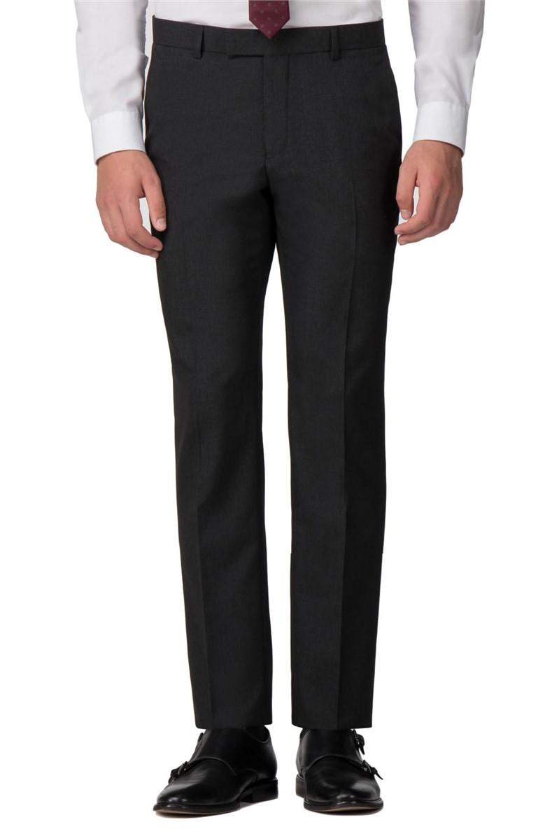 Plain Charcoal Panama Slim Fit Trousers