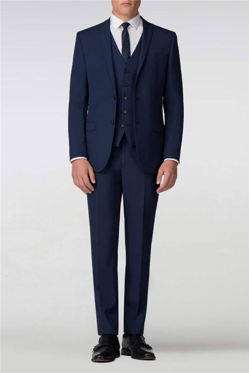 Plain Blue Panama Slim Fit Suit