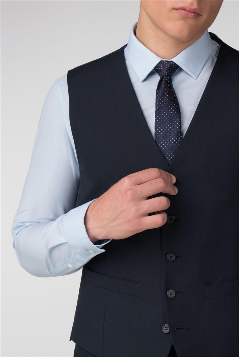 Plain Navy Panama Slim Fit Waistcoat