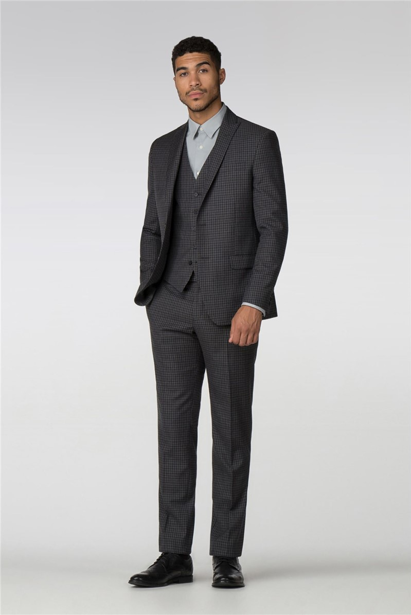Charcoal Gingham Slim Fit Suit