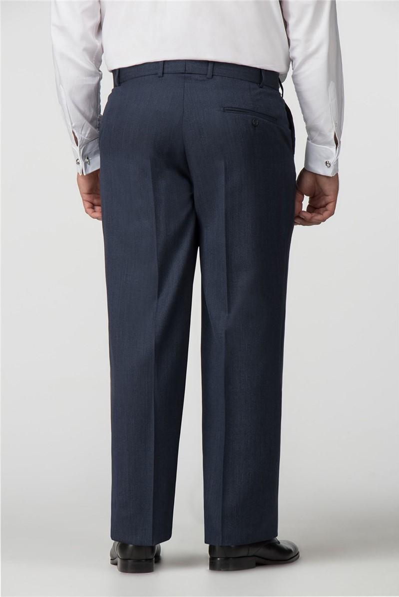 Navy Birdseye Regular Fit Trousers