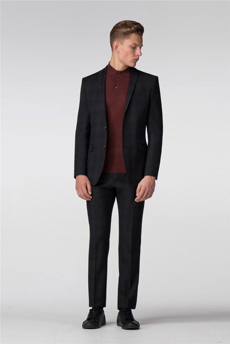 Black and Merlot Check Slim Fit Jacket
