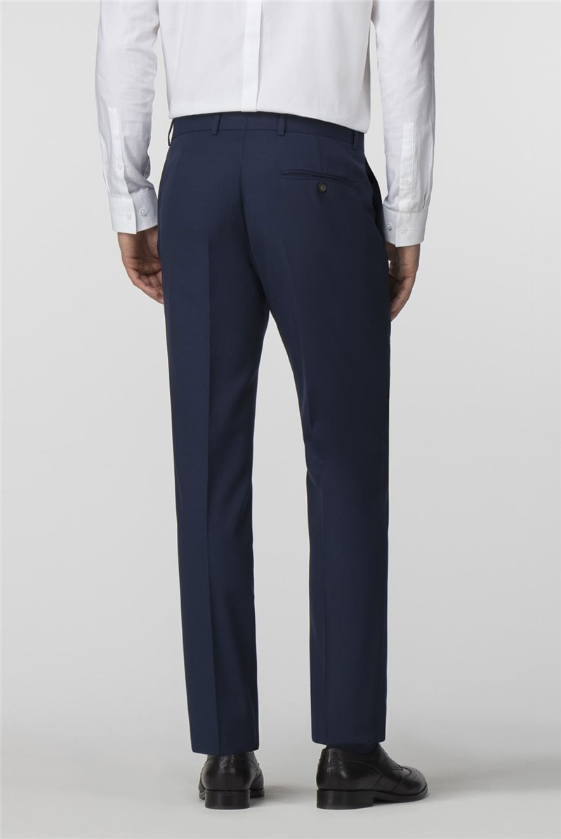 Blue Textured Tailored Fit Trousers