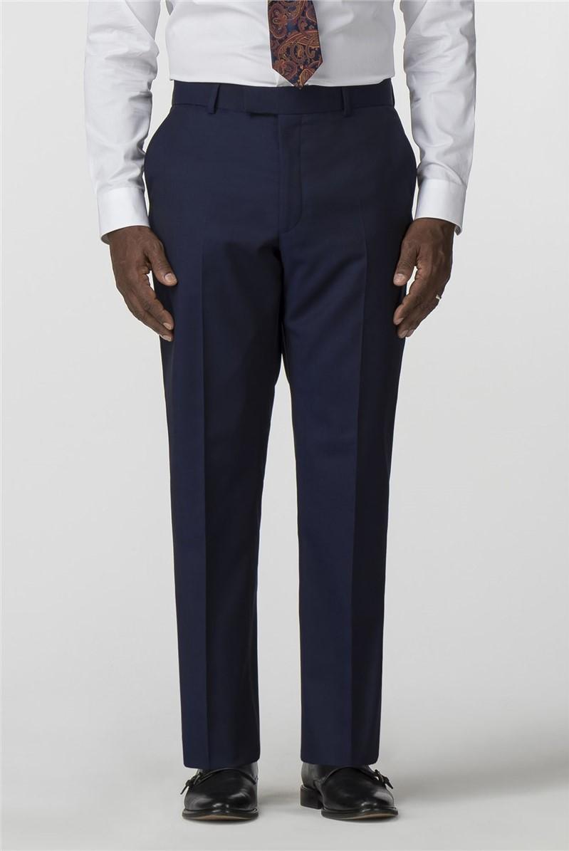 Blue Twill Regular Fit Men's Formal Trousers