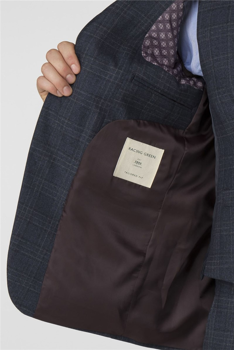 Navy Check Tailored Fit Trousers