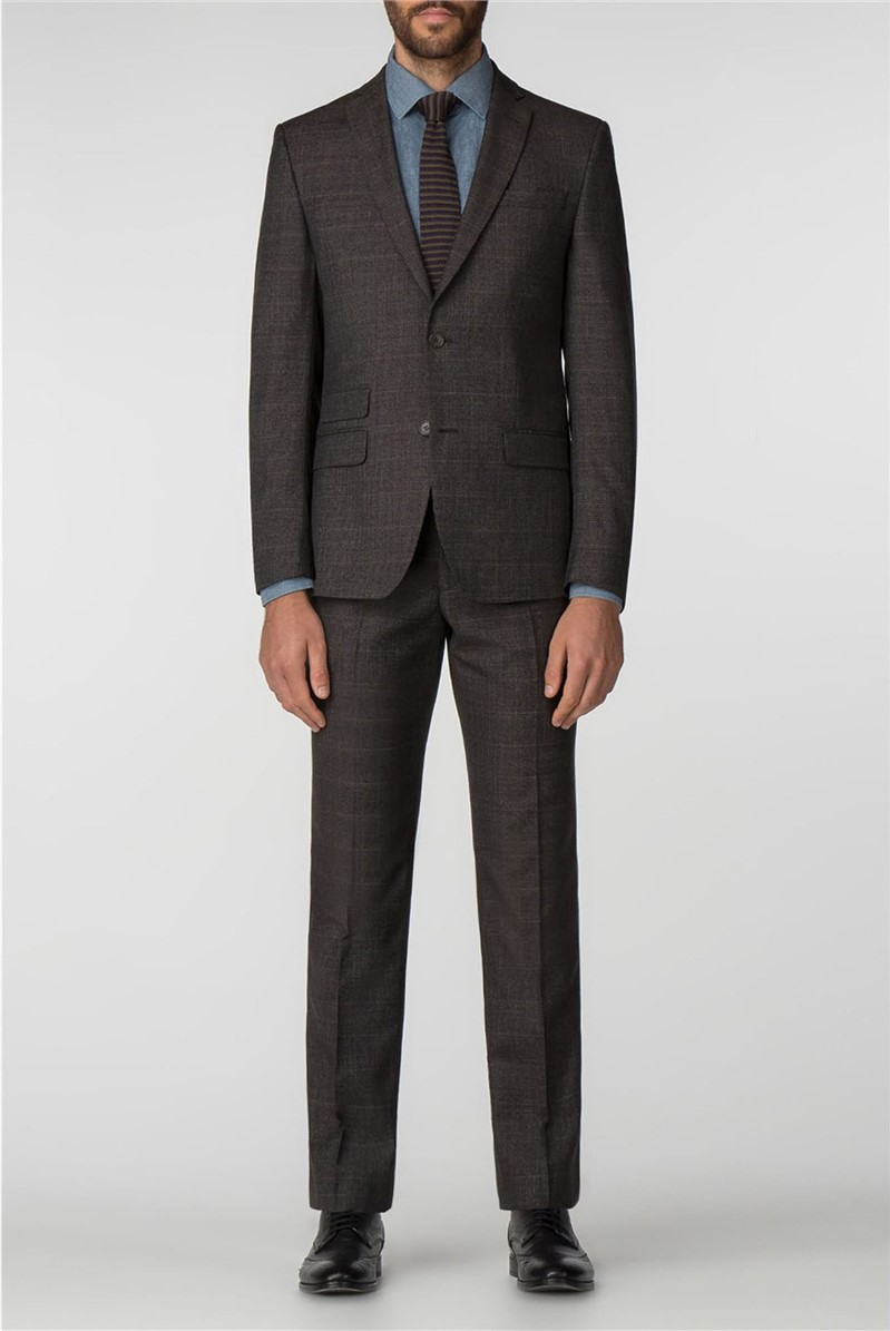 Brown Puppytooth Check Tailored Fit Suit