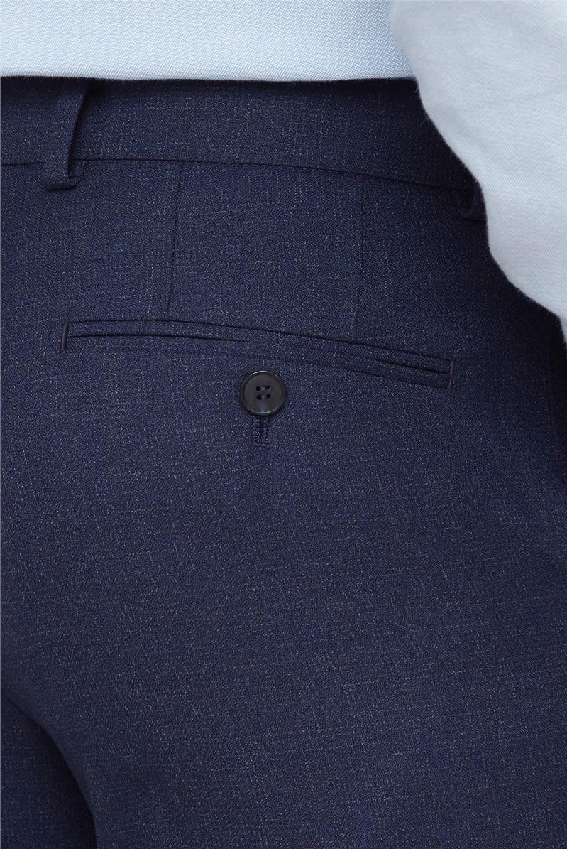Blue Semi Plain Regular Fit Trouser