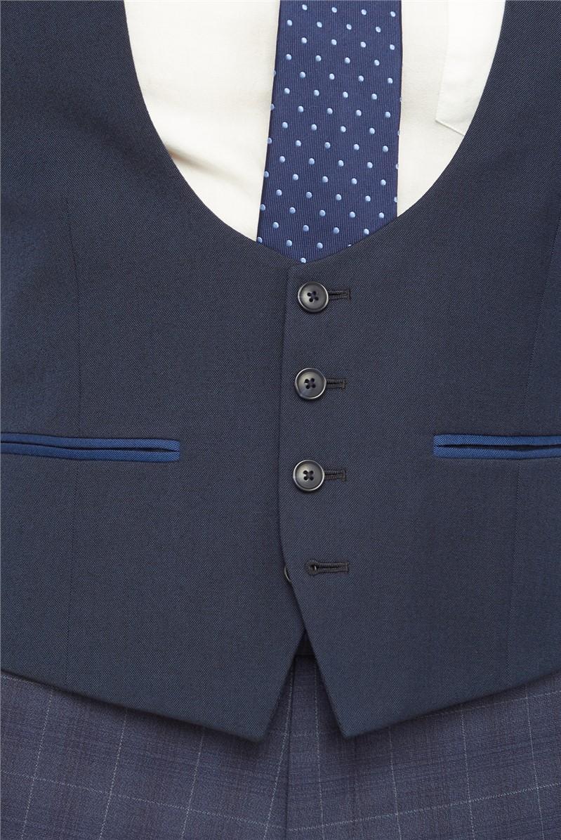Navy Semi Plain Waistcoat
