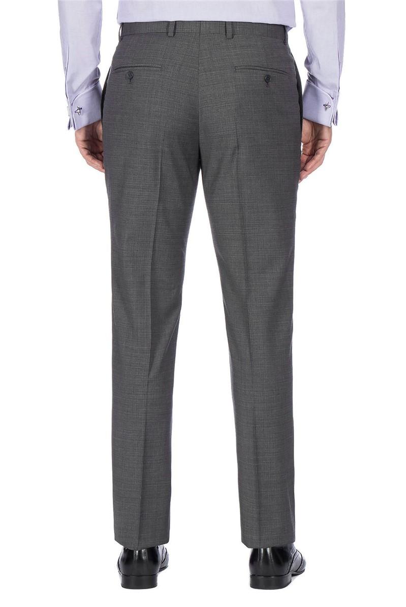 Grey Textured Machine Washable Slim Wool Blend Formal Trouser