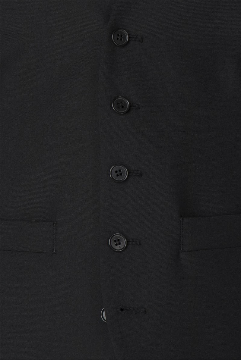 Black Panama Tailored Fit Waistcoat