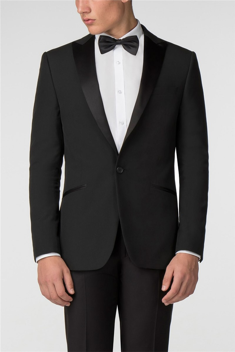 Plain Black Panama Slim Fit Trousers