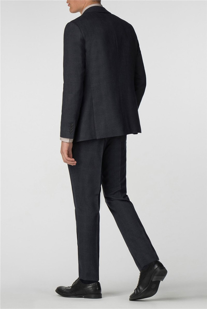 Navy with Rust Overcheck Slim Fit Suit