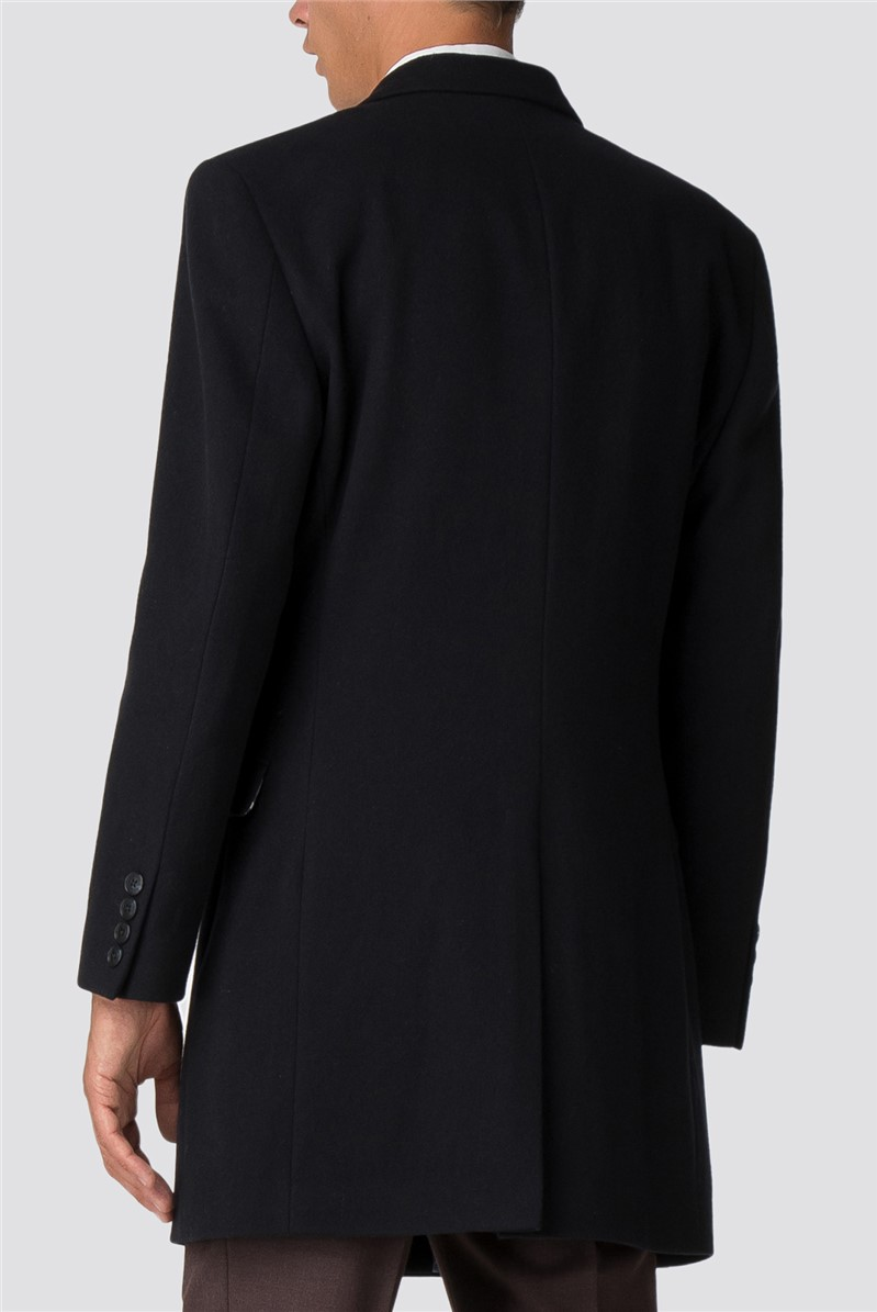 Navy Melton Overcoat
