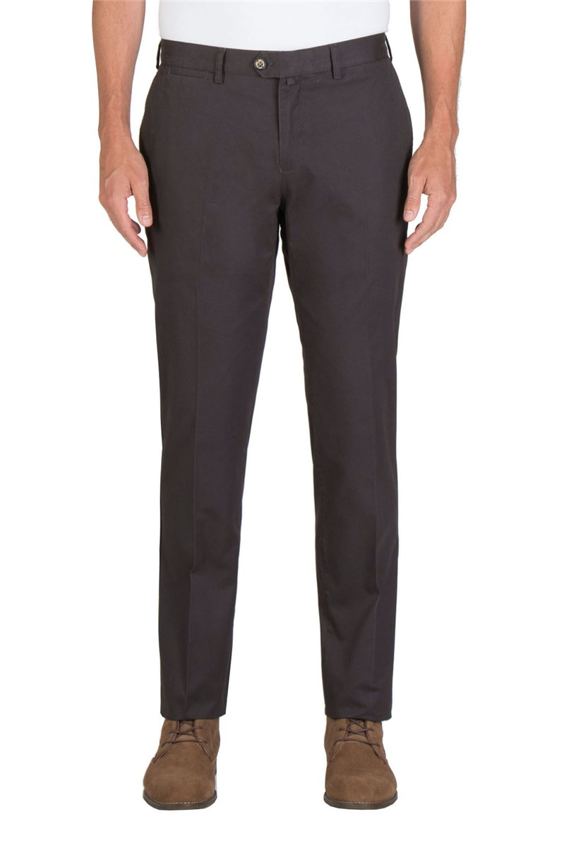Charcoal Cotton Chino Trousers