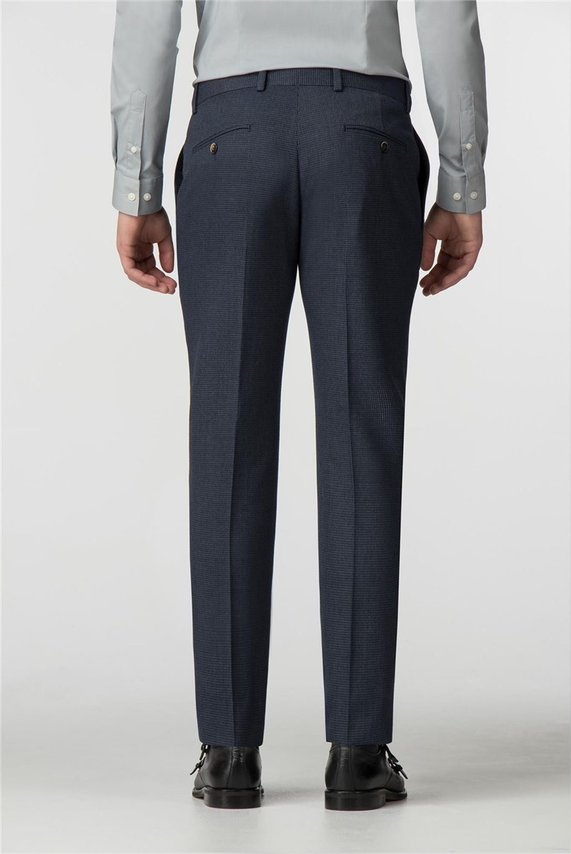 Blue Puppytooth Slim Fit Trousers