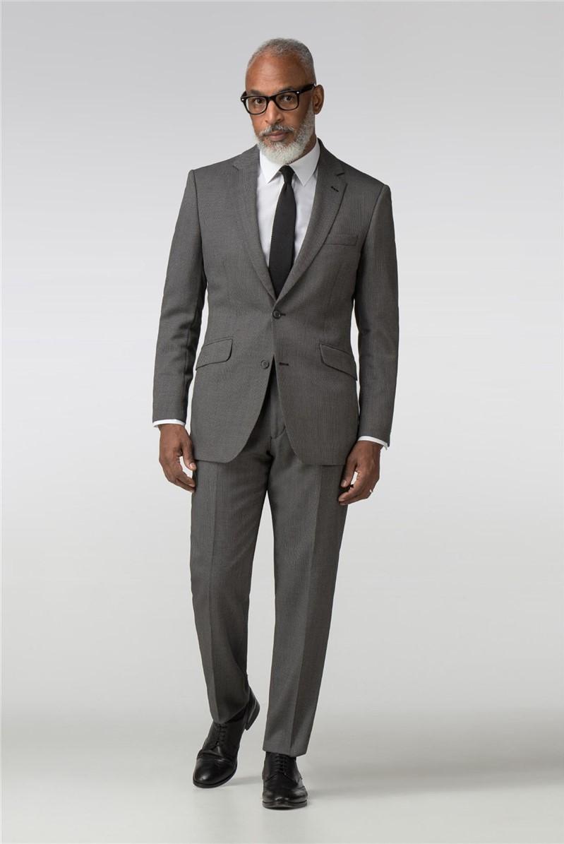 Black Birdseye Regular Fit Suit