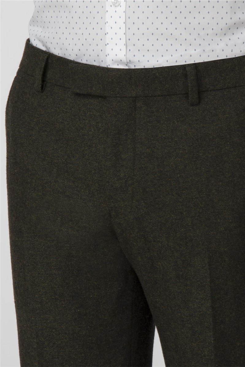 Green Donegal Tweed Slim Fit Trousers