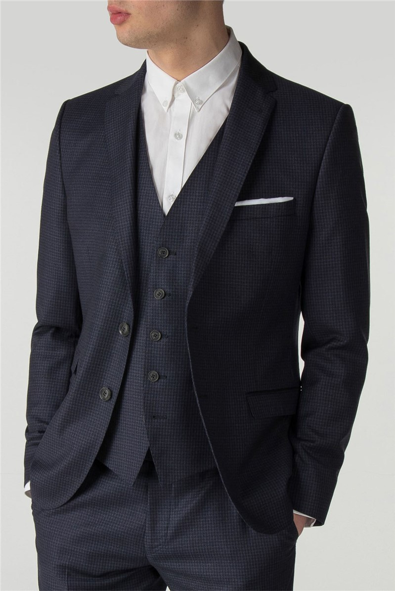 Deep Blue Tonal Texture Camden Fit Suit