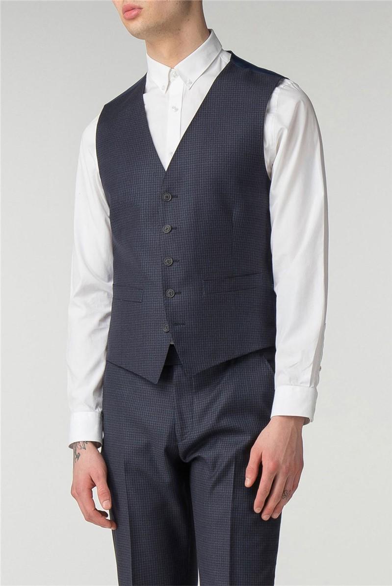 Ben Sherman Main Line Deep Blue Tonal Texture Camden Fit Waistcoat