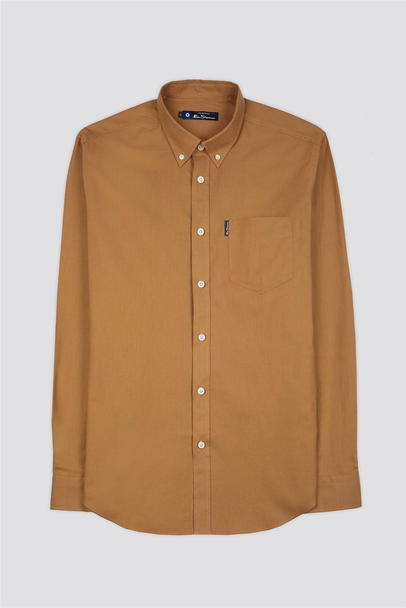 Long Sleeve Oxford Shirt - Camel