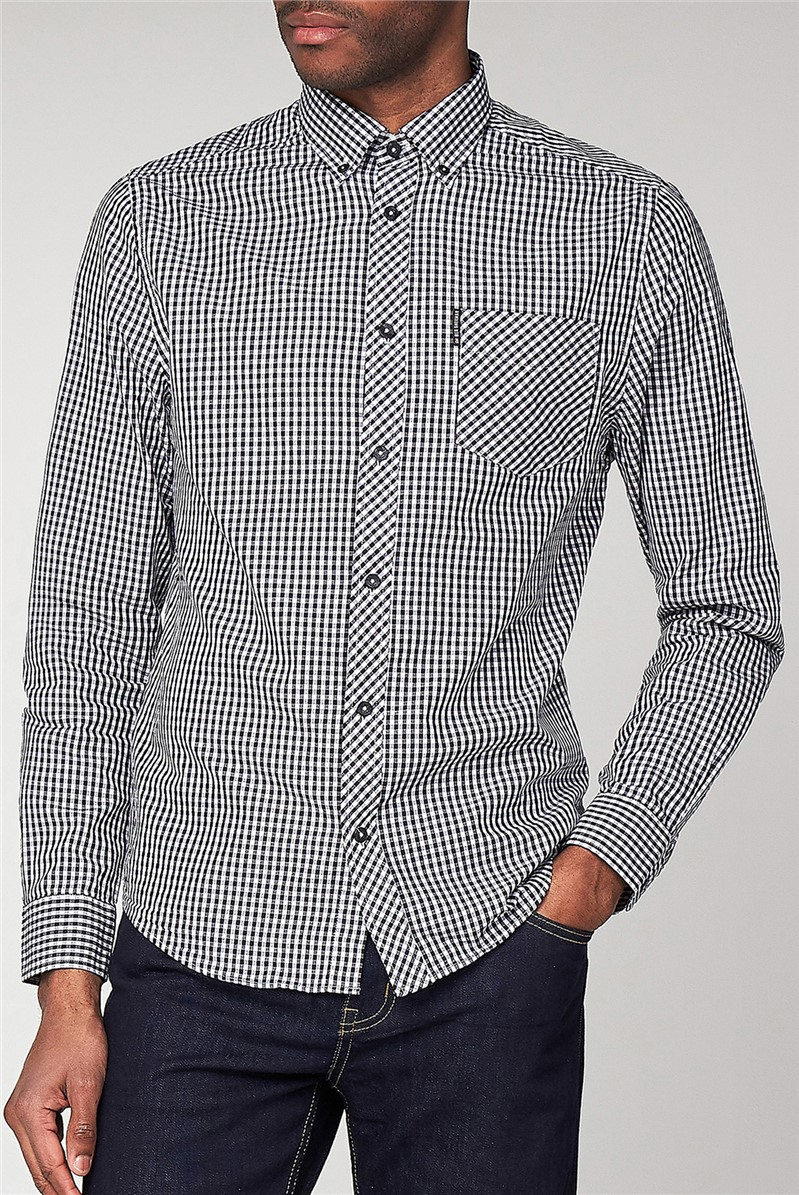 Black Long Sleeved Gingham Shirt
