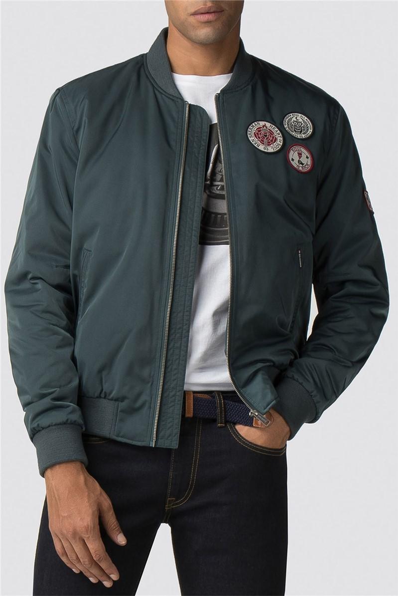 Dark Green Sateen Badge Bomber Jacket