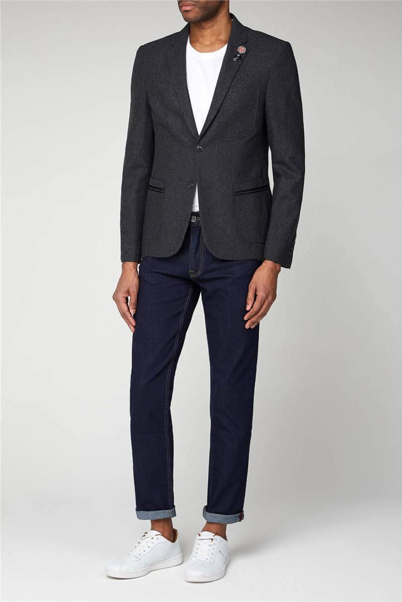 Charcoal Tipped Flannel Blazer