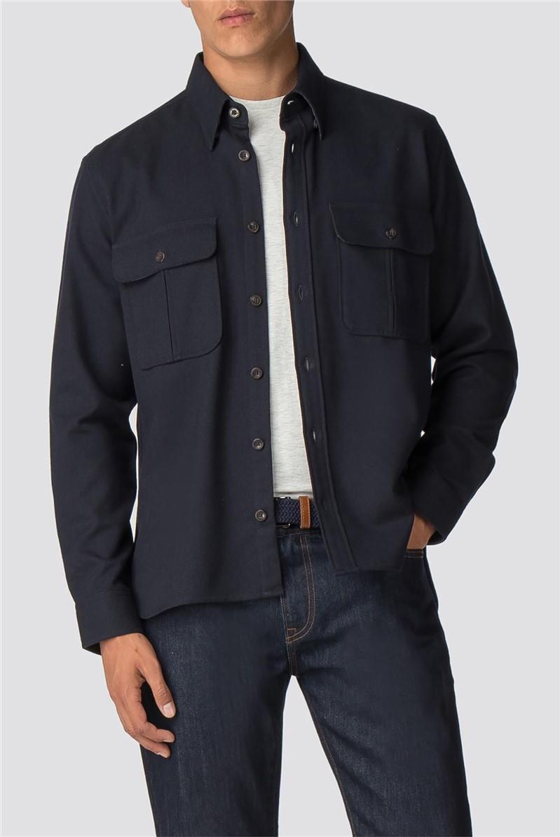 Long Sleeve Navy Wool Utility Shirt