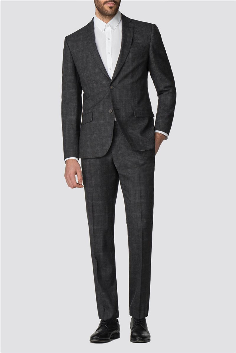 Charcoal Rust Check Tailored Fit Suit Jacket