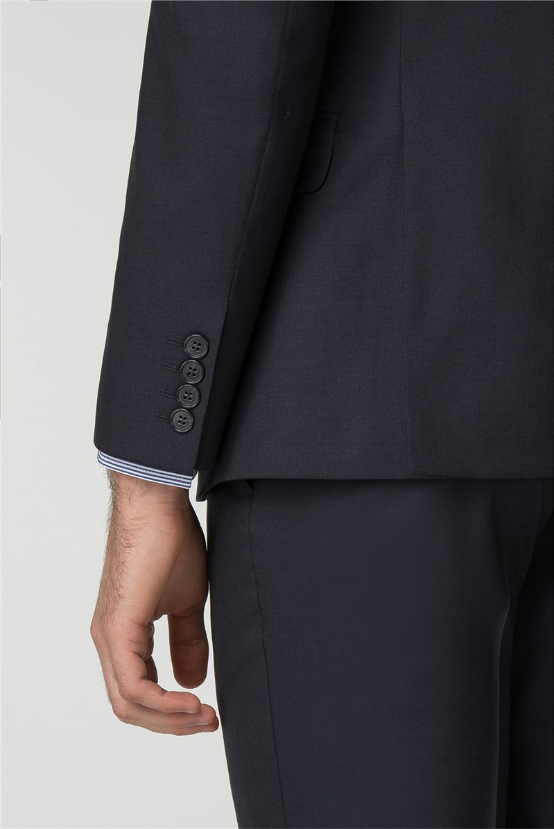 Navy Panama Tailored Fit Suit Jacket