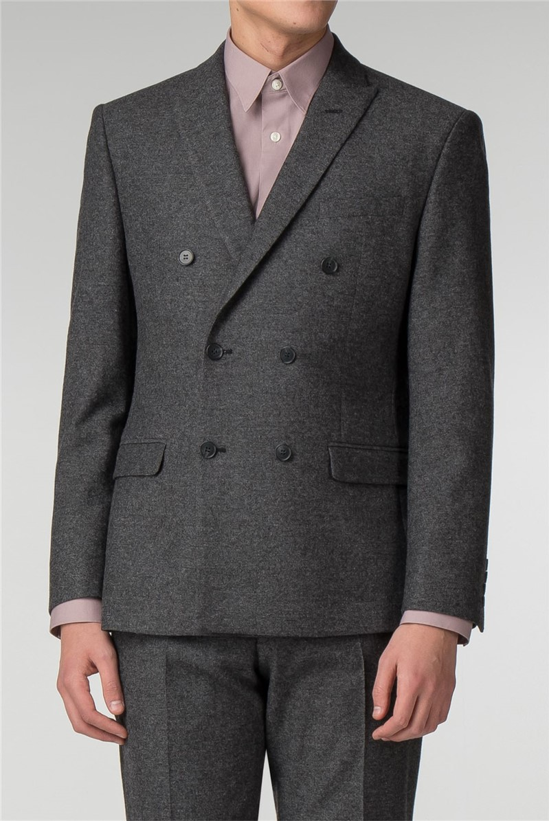 Grey Double Breasted Slim Fit Suit