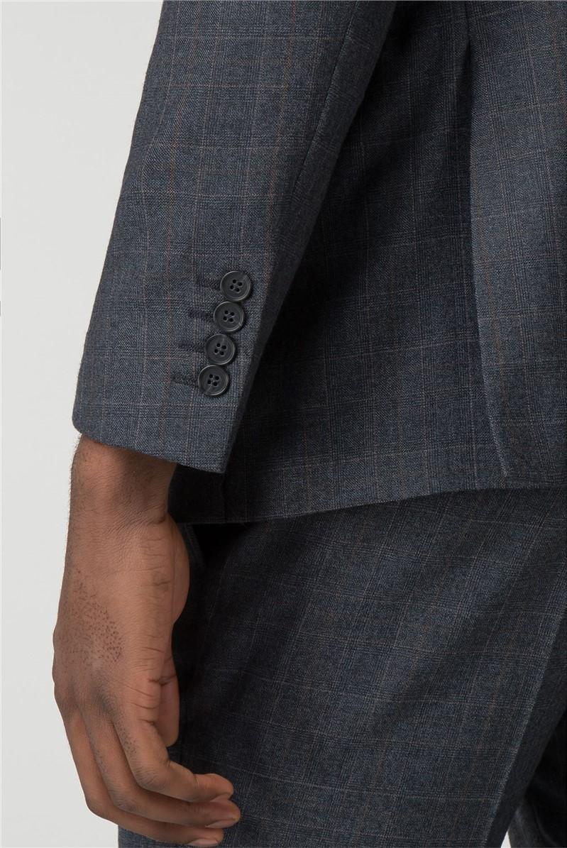 Navy Jaspe Check Slim Fit Suit