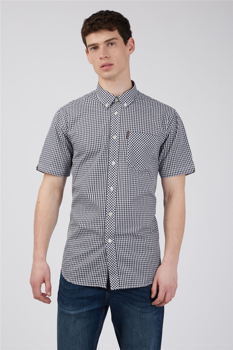 Short Sleeved Black Gingham Shirt