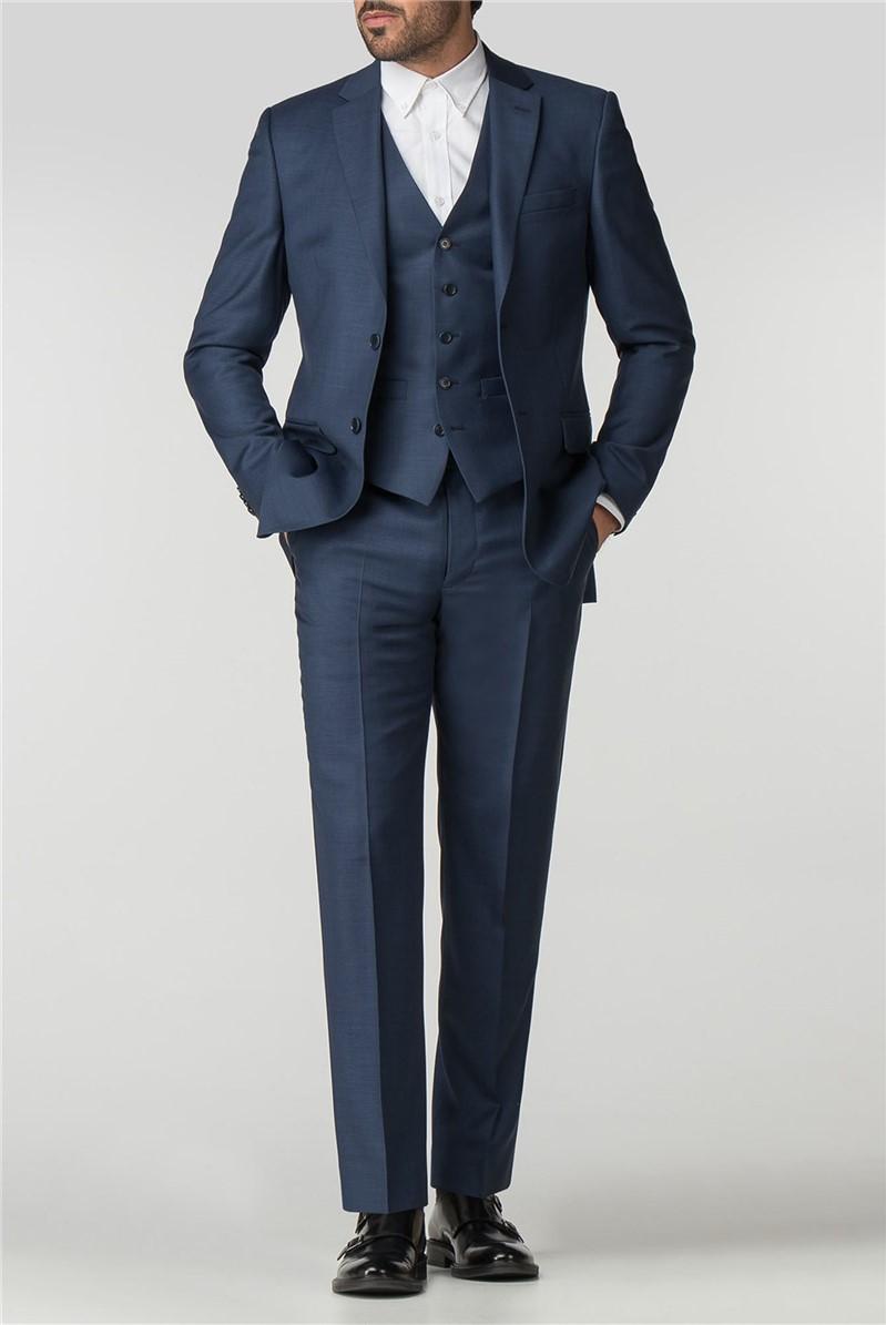 Regular Fit Blue Sharkskin Suit