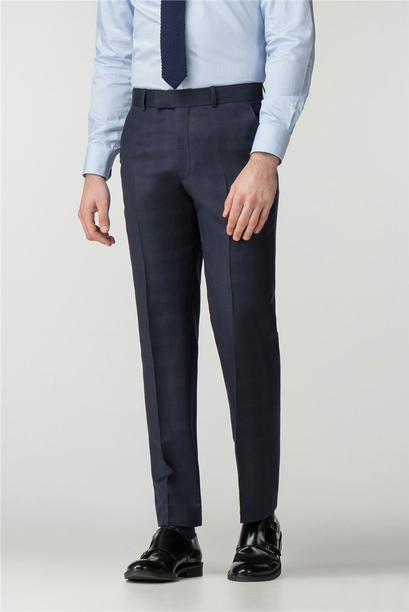Regular Fit Navy Check Trouser