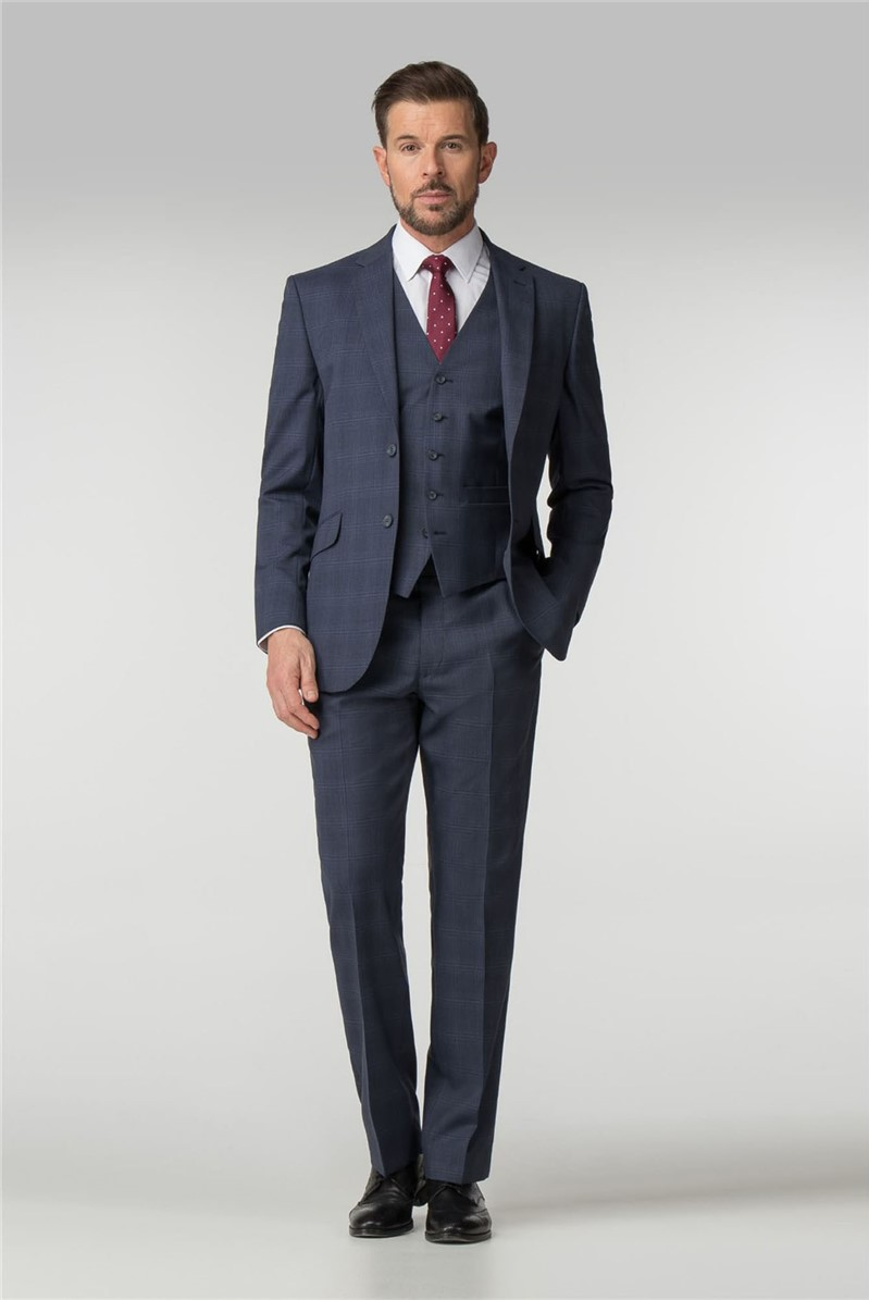 Blue Checked Regular Fit Suit