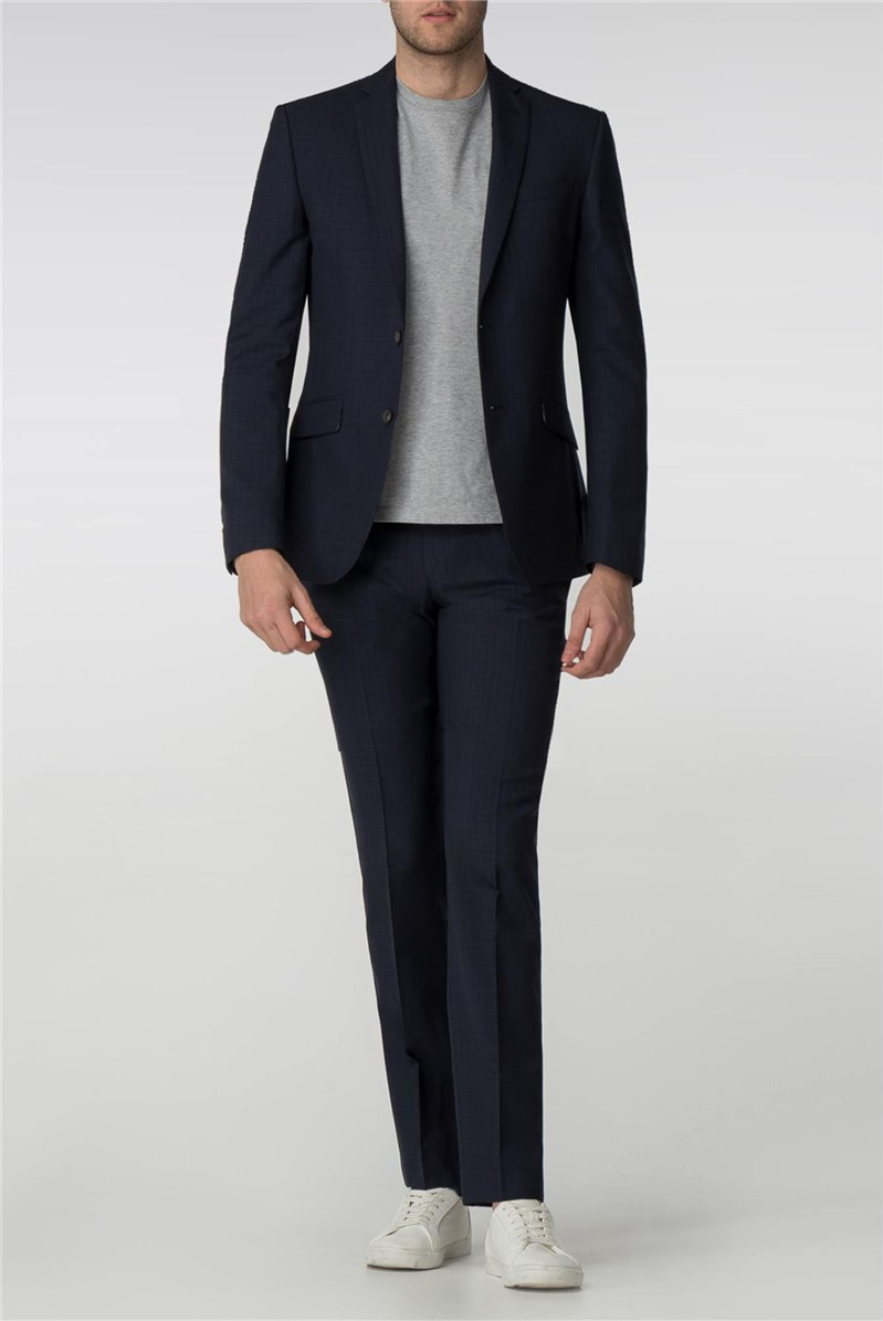 Tailored Fit Navy Micro Check Suit
