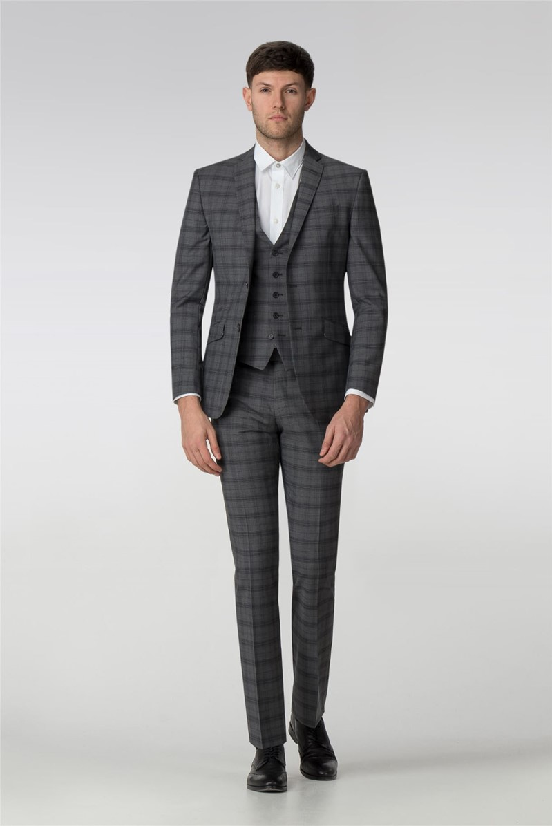 Tailored Fit Grey Check Suit