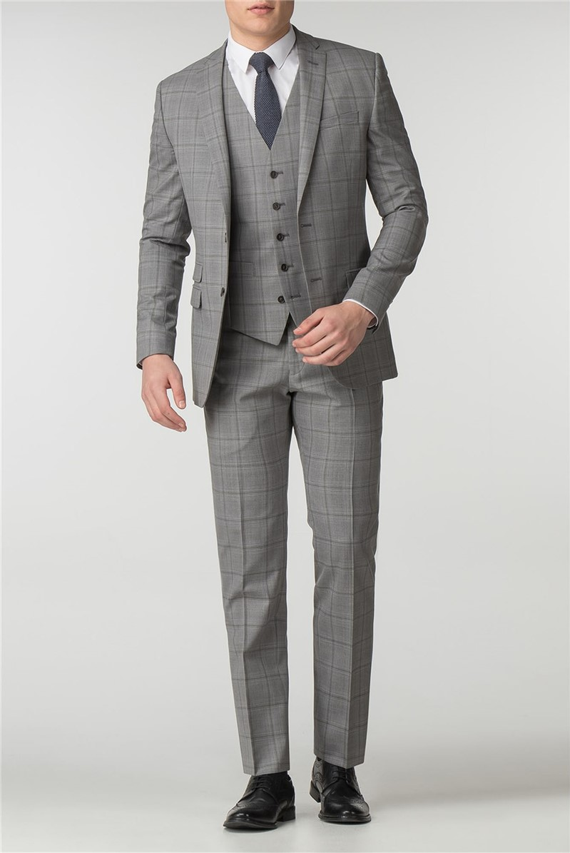 Slim Fit Grey with Olive Overcheck Suit