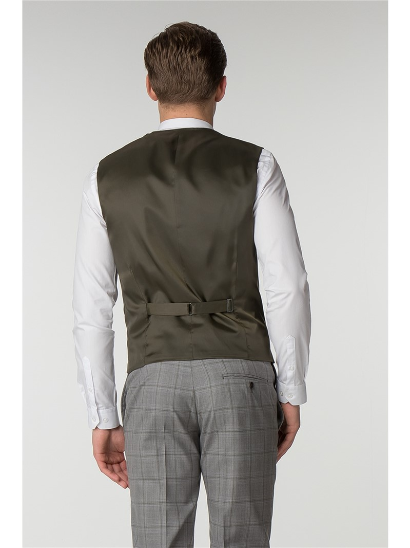 Slim Fit Grey with Olive Overcheck Waistcoat