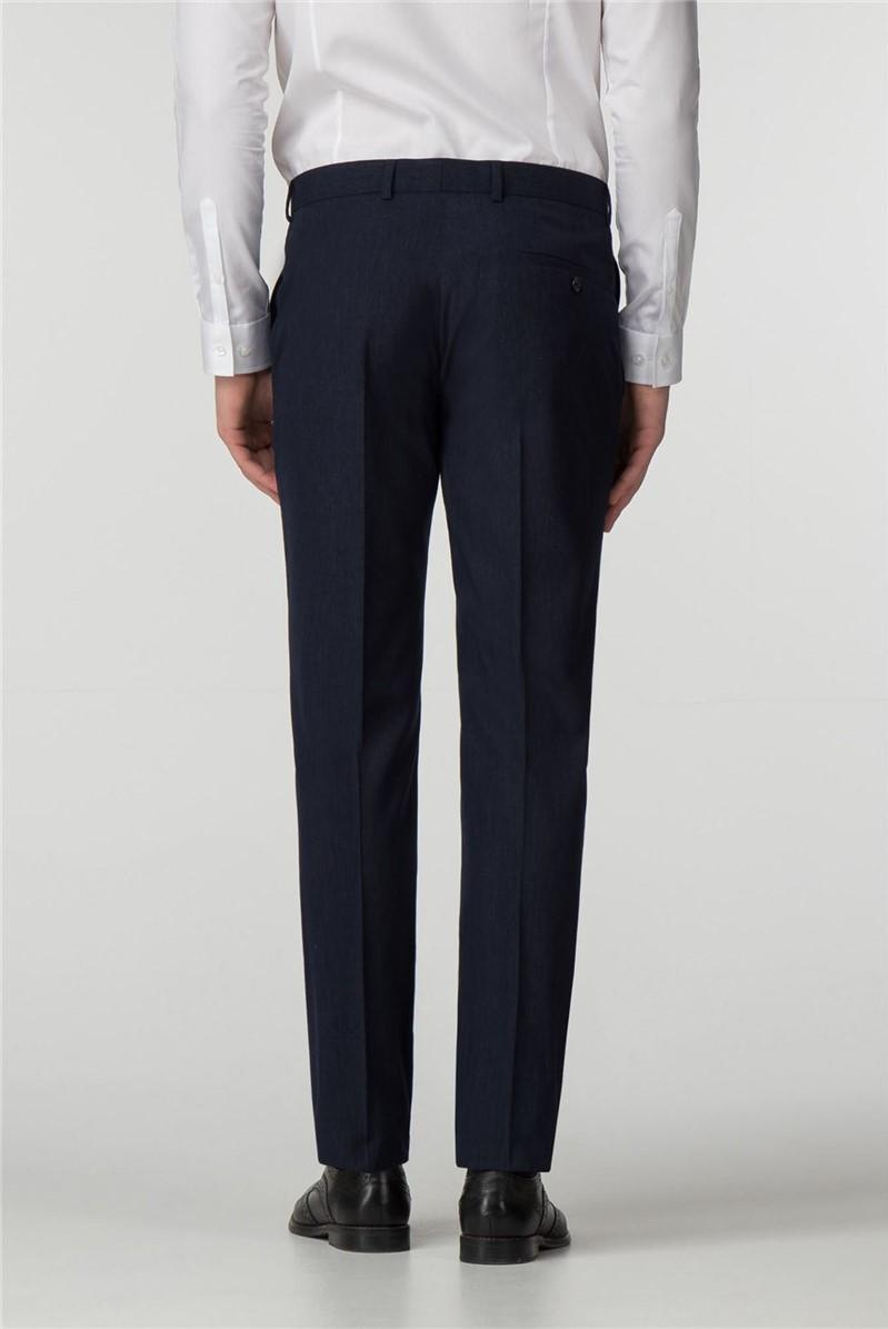 Navy Semi- Plain Slim Fit Trousers