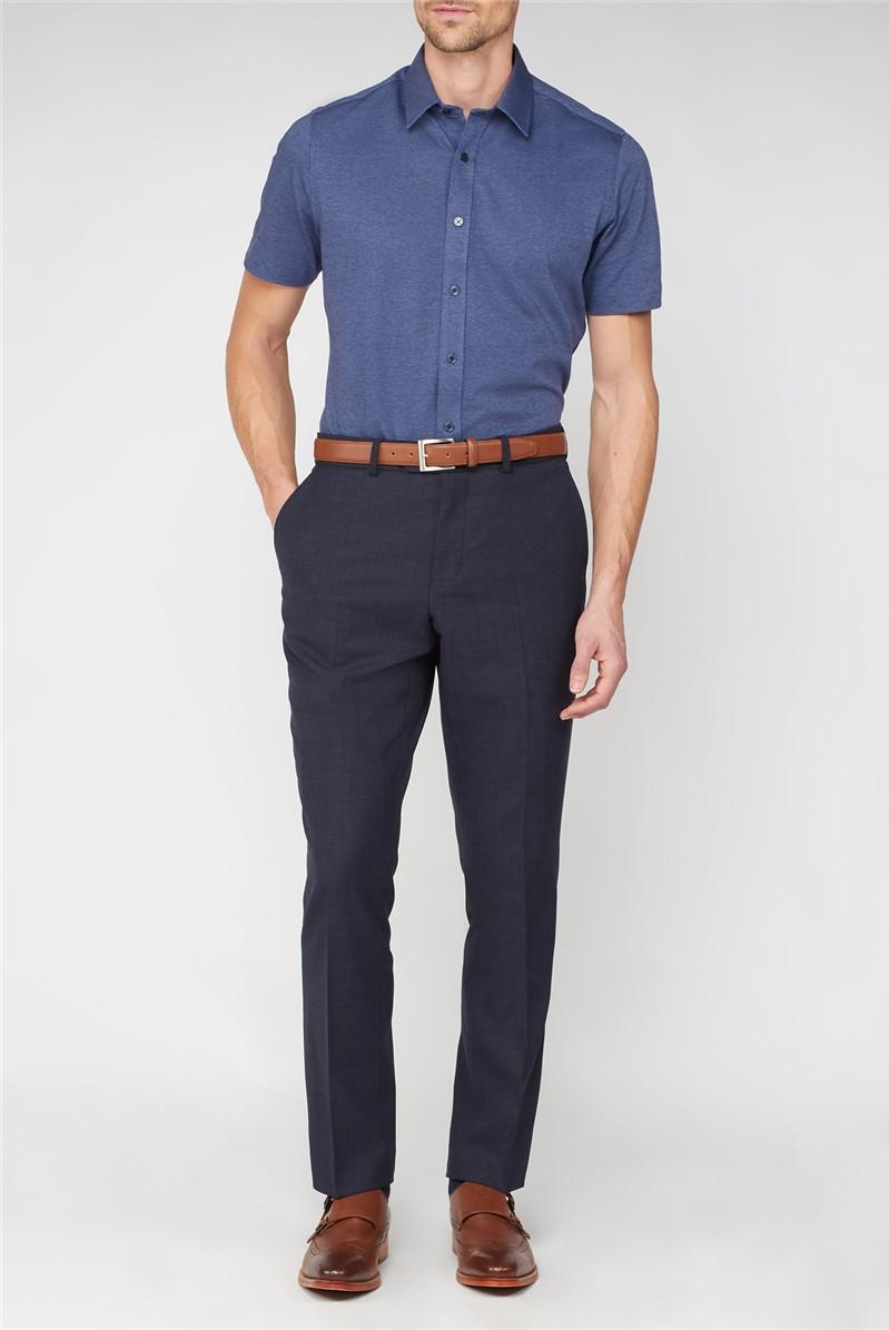 Navy Textured Wool Blend Regular Fit Travel Suit Trouser