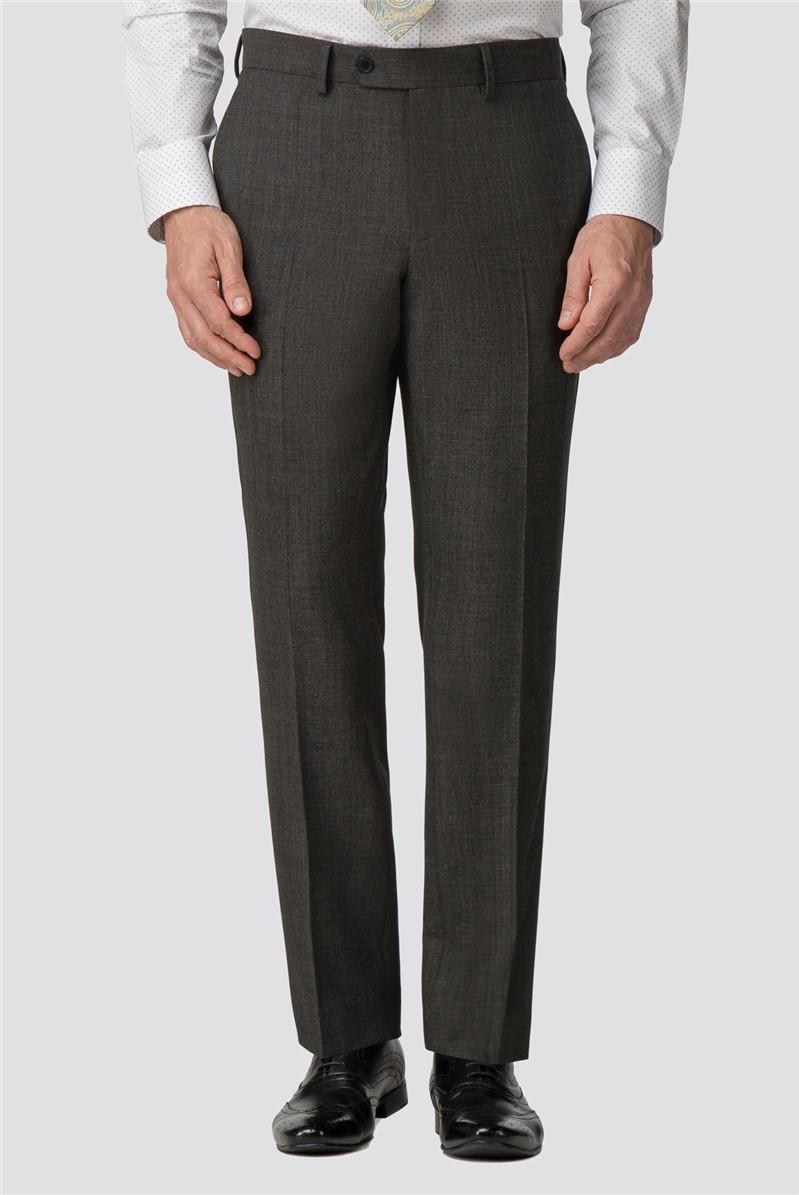 Charcoal Texture Wool Blend Regular Fit Travel Suit Trouser